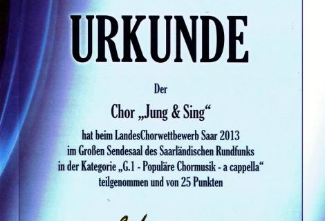 """Jung & Sing """"mit sehr gutem Erfolg"""" beim LandesChorwettbewerb"""
