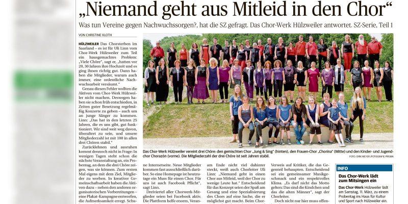 Bericht Saarbrücker Zeitung vom 06.03.2017, Seite B1