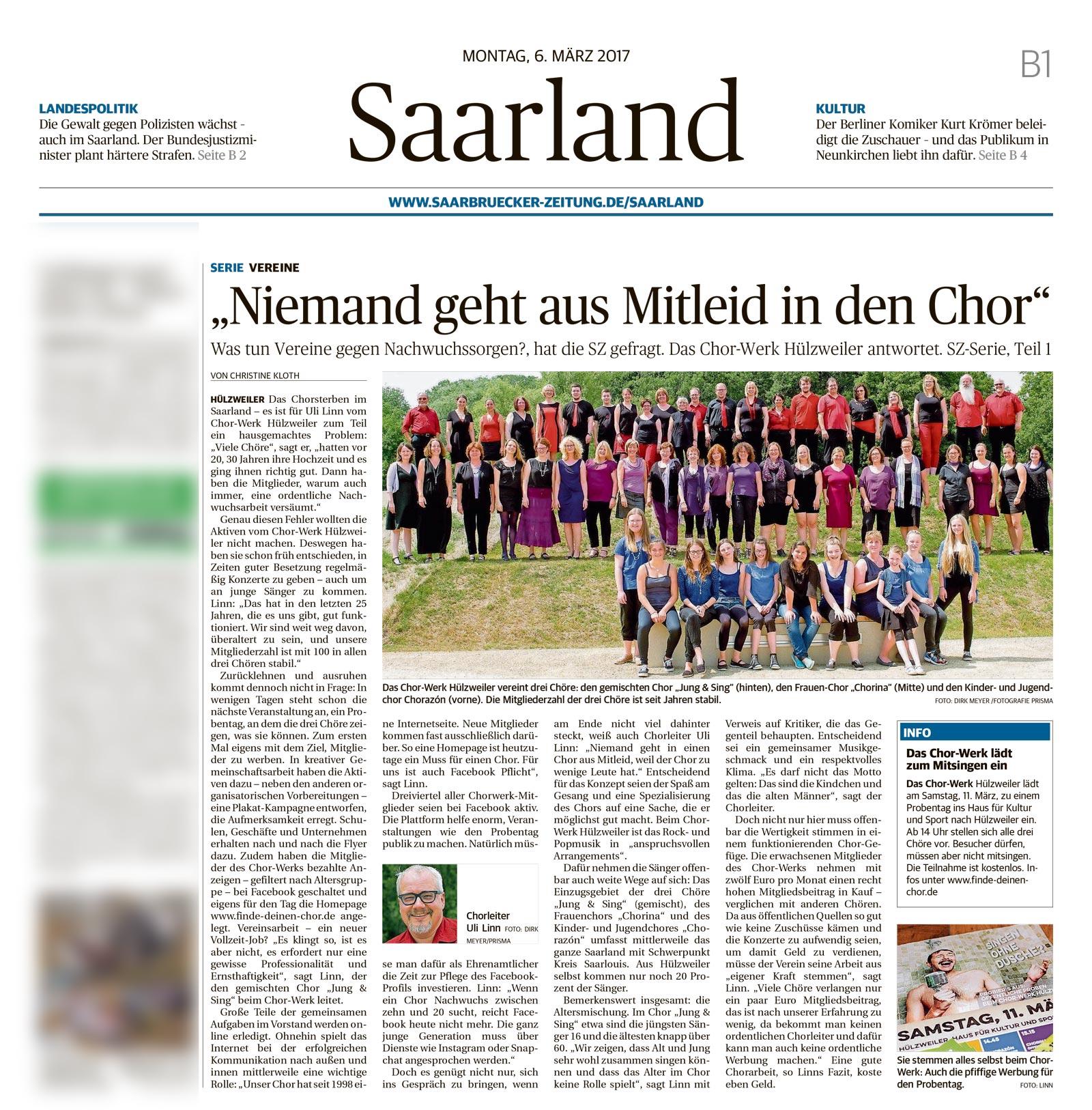 Überregionale Berichterstattung über das Chor-Werk Hülzweiler und Jung & Sing